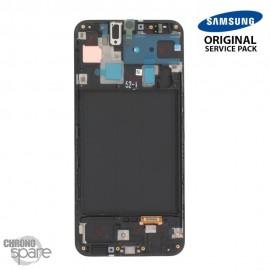 Ecran LCD + Vitre Tactile + châssis noir Samsung Galaxy A30 A305F (officiel)