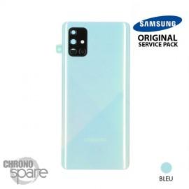 Vitre arrière + vitre caméra Bleue Samsung Galaxy A71 A715F (Officiel)