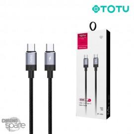 Câble Type-C vers Type-C 60W 1M Gris TOTU
