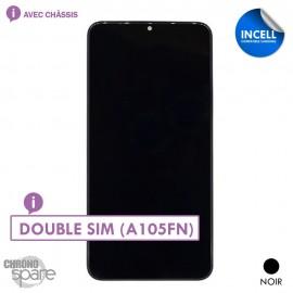 Ecran LCD + Vitre Tactile + châssis noir compatible Samsung Galaxy A10 (A105FN) double SIM double (INCELL)