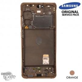Ecran LCD + Vitre Tactile + châssis Orange Samsung Galaxy S20 FE G780F (officiel)