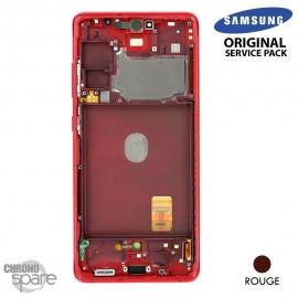 Ecran LCD + Vitre Tactile + châssis Rouge Samsung Galaxy S20 FE 5G G781F (officiel)