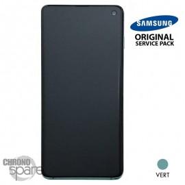 Ecran LCD + Vitre Tactile + châssis vert Samsung Galaxy S10 G973F (officiel)