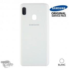 Vitre arrière + vitre caméra Blanche Samsung Galaxy A20E A202FN (Officiel)