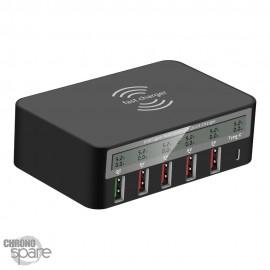 Chargeur 5 ports USB + 1 port Type C Noir 818F