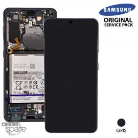 Ecran LCD + Vitre Tactile + châssis gris Samsung Galaxy S21 G991B (officiel)