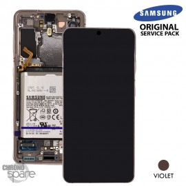 Ecran LCD + Vitre Tactile + châssis Rose Samsung Galaxy S21 G991B (officiel)
