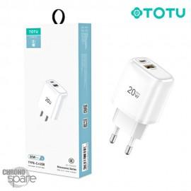 Chargeur secteur 1 TYPE C + 1 USB blanc TOTU (CACQ-012)