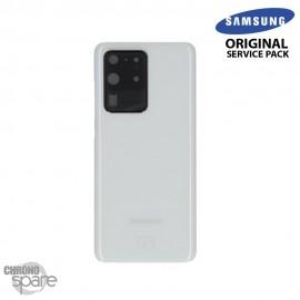 Vitre arrière + vitre caméra Blanche Samsung Galaxy S20 Ultra G988F (Officiel)
