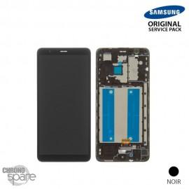 Ecran LCD + Vitre Tactile + châssis noir Samsung Galaxy A01 Core A013F (officiel)