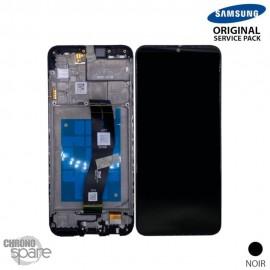 Ecran LCD + Vitre Tactile + châssis noir Samsung Galaxy A02s A025G (officiel)