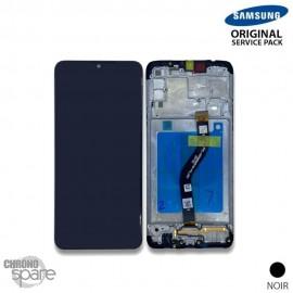 Ecran LCD + Vitre Tactile + châssis noir Samsung Galaxy A20s A207F (officiel)