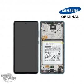 Ecran LCD + Vitre Tactile + châssis Bleu Samsung Galaxy A52 5G A525F (officiel)