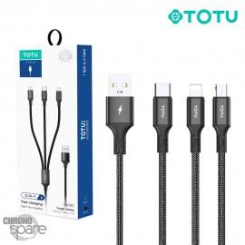 Câble Charge 3 en 1 tressé TOTU noir ( B3B-009 )