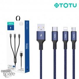Câble Charge 3 en 1 tressé TOTU bleu ( B3B-009 )