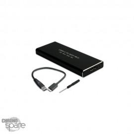 Boitier externe disque dur Micro USB 3.0 vers M.2 SATA SSD + 1 USB A câble (MA28-1)noir