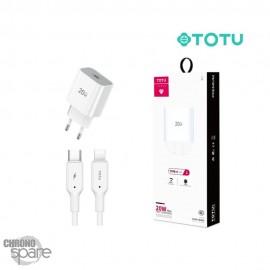 Chargeur secteur 20W Type-C TOTU (CACQ-010) Avec Câble