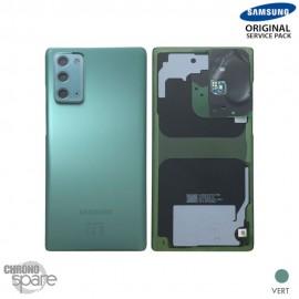 Vitre arrière + vitre caméra Samsung Galaxy Note 20 N980F vert (Officiel)