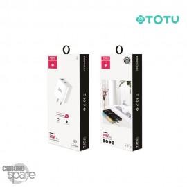 Chargeur secteur 20W type C + USB TOTU Sans Câble