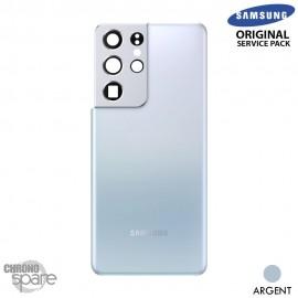 Vitre arrière + vitre caméra Argent Samsung Galaxy S21 Ultra G998F (Officiel)