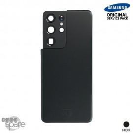 Vitre arrière + vitre caméra noir Samsung Galaxy S21 Ultra G998F (Officiel)