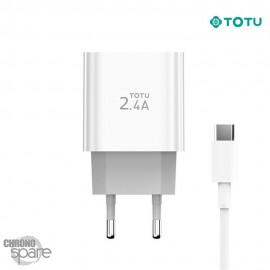 Chargeur secteur 12W 2 USB + 1 câble type C TOTU