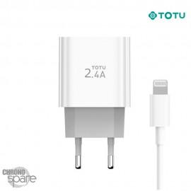 Chargeur secteur 12W 2 USB + 1 câble lightning TOTU
