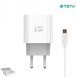 Chargeur secteur 12W 2 USB + 1 câble USB TOTU