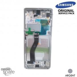 Ecran LCD + Vitre Tactile + châssis Argent Samsung Galaxy S21 Ultra G998B (officiel)