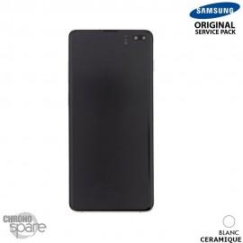Ecran LCD + Vitre Tactile + châssis blanc céramique Samsung Galaxy S10 Plus G975F (officiel)