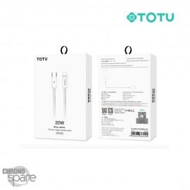 Câble tressé USB C vers lightning blanc 1.2 M TOTU (BPD-008)