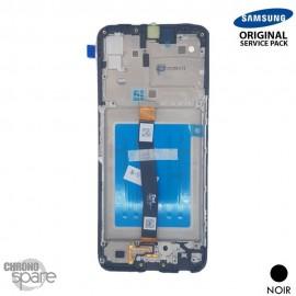 Ecran LCD + Vitre Tactile + châssis noir Samsung Galaxy A22 A226B (officiel)