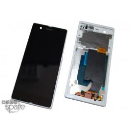 Ecran LCD et Vitre tactile avec châssis Blanc Xperia Z