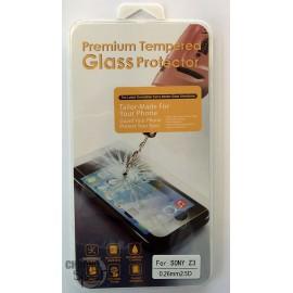 Vitre de protection en verre trempé Sony Z3 avec Boîte