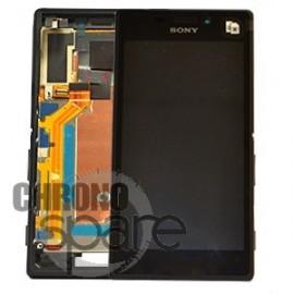 Ecran LCD + Vitre tactile noire + châssis Sony Xperia M2 Aqua (officiel)