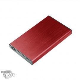 Boitier externe disque dur 2.5 pouces (9,5mm) SATA USB 3.0 Metal Rouge