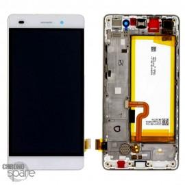 Bloc écran LCD + vitre tactile + batterie Huawei P8 Lite Blanc (officiel)